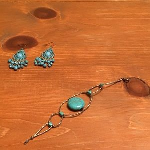 Turquoise earrings gold.